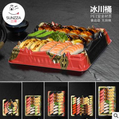 三泽 2019新品土豪款 冰川桶 寿司盒三文鱼打包盒 印花一次性塑料图片