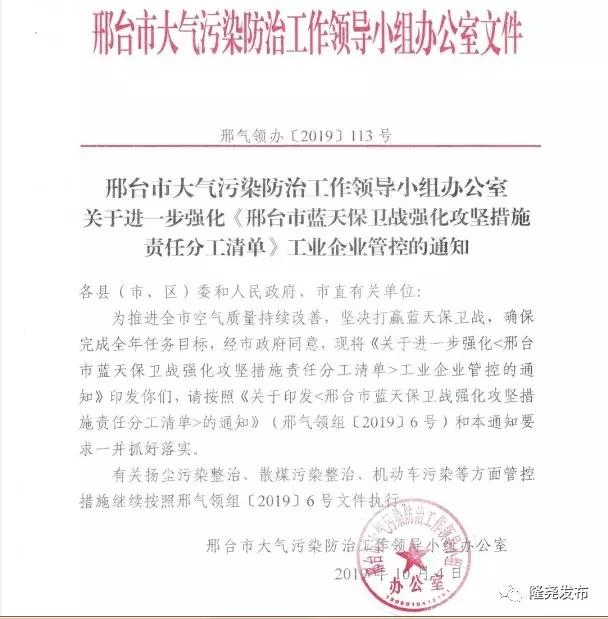邢台强化攻坚蓝天保卫战 这些企业要停产、限产...