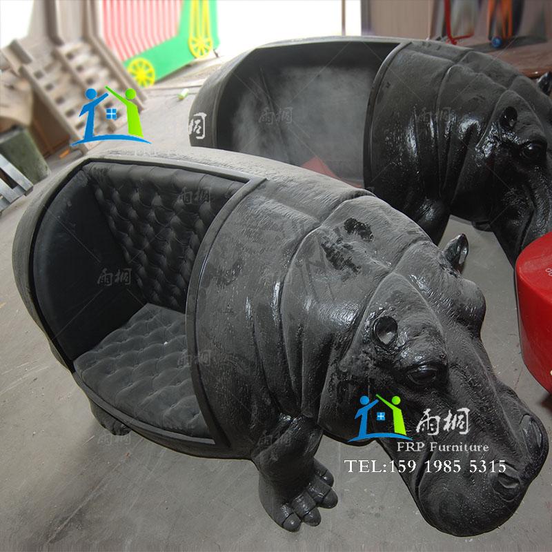 深圳玻璃钢厂家 玻璃钢河马沙发真皮沙发 河马树脂内胆